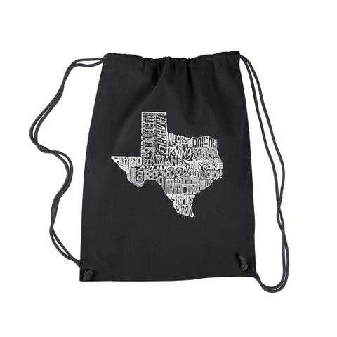 LA Pop Art The Great State of Texas Black Cotton Drawstring Backpack