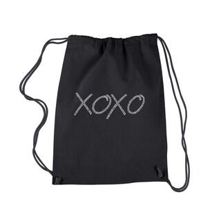 LA Pop Art 'XOXO' Black CottonDrawstring Backpack