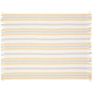LR Home Chevron Yellow/Grey Cotton Reversible Couch Throw Blanket