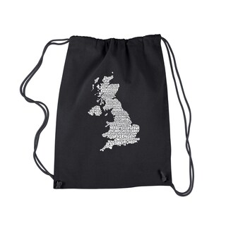 LA Pop Art 'God Save the Queen' Black Cotton Drawstring Backpack