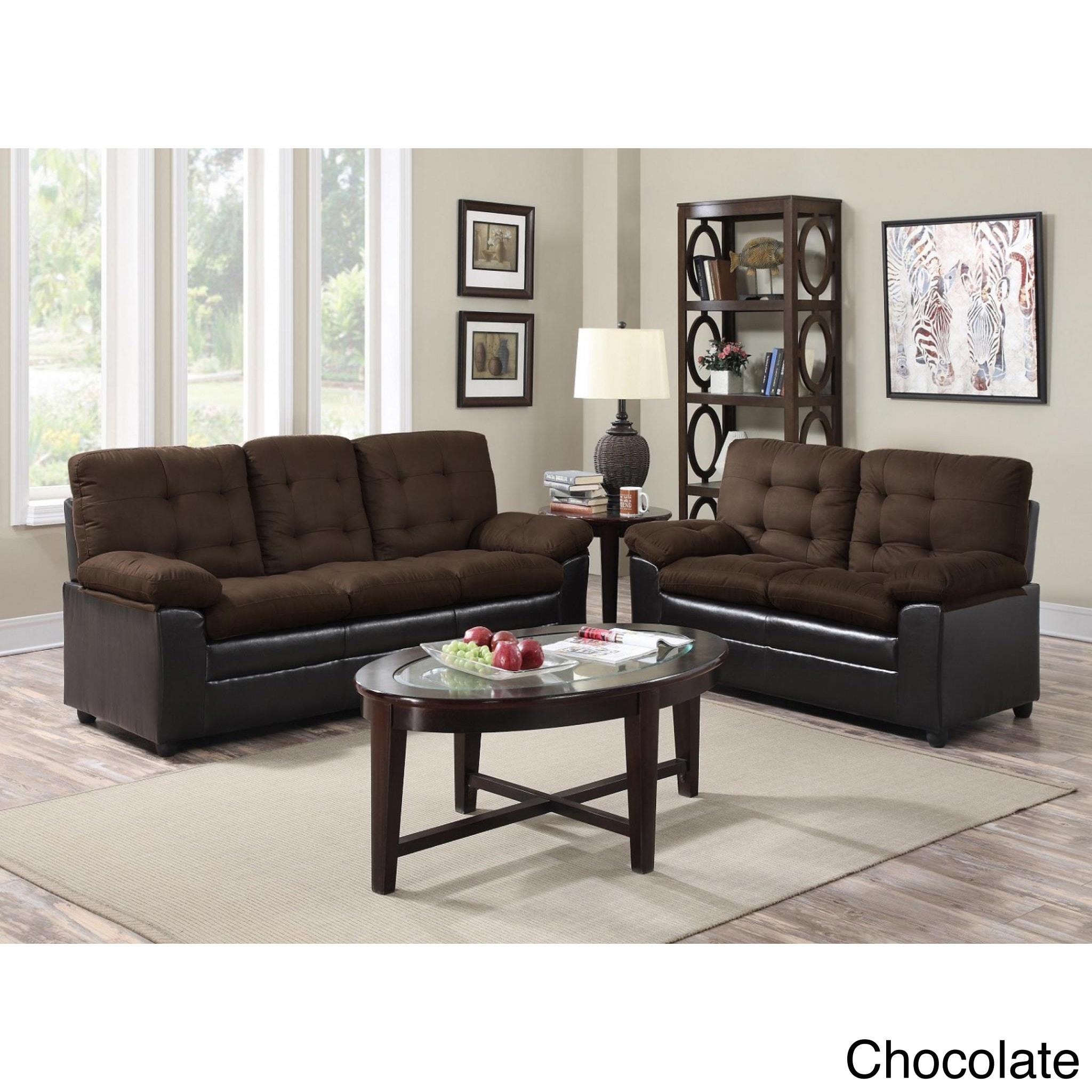 Two-Tone Microfiber Sofa and Loveseat Set (Chocolate), Br...