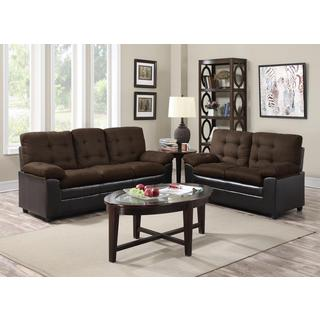 Two-Tone Microfiber Sofa and Loveseat Set