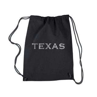 LA Pop Art 'Texas' Black Cotton Drawstring Backpack