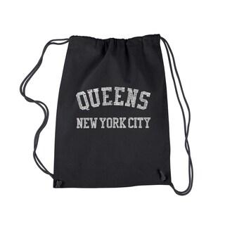 LA Pop Art Black Cotton 'Queens, NY' Drawstring Backpack
