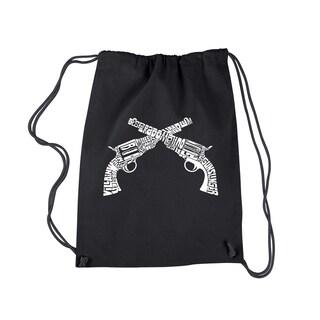 LA Pop Art Crossed Pistols Black Cotton Drawstring Backpack