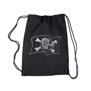 Los Angeles Pop Art Famous Pirate Captains and Ships Black Cotton Drawstring Backpack