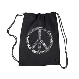 LA Pop Art Drawstring Backpack - PEACE, LOVE, & MUSIC