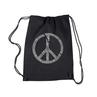 Los Angeles Black Cotton Peace Symbol Pop Art Drawstring Backpack