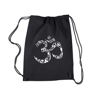 Los Angeles Pop Art The Om Symbol Out of Yoga Poses Black Cotton Drawstring Backpack