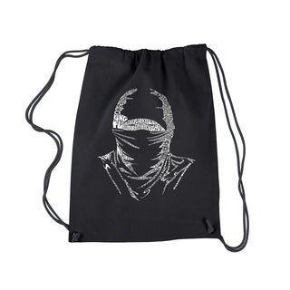 LA Pop Art Ninja Black Cotton Drawstring Backpack