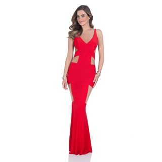 Terani Couture Women's Red Jersey V-neck Long Prom Gown