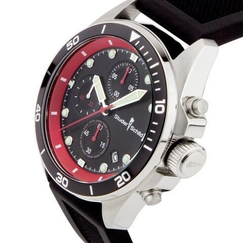 Studer Schild Morse Men's Red and Black Chronograph Sport Stainless Steel and Silicone Strap Watch 43mm