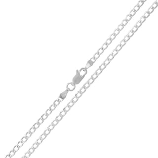 .925 Sterling Silver 3mm Solid Cuban Curb Link Diamond Cut ITProLux Necklace Chains