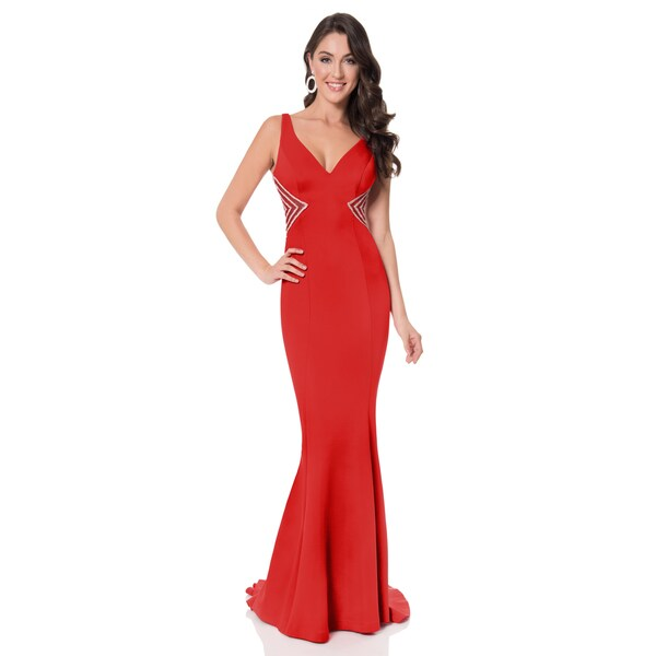 8a61dcc4cee Shop Terani Neoprene Long Trumpet Gown - Free Shipping Today ...