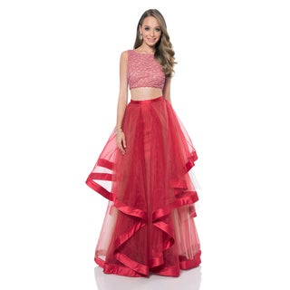 Terani Couture Crystal Embellished 2-piece Prom Dress Set