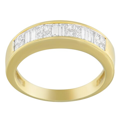 14K Yellow Gold 1 CTTW Princess and Baguette-cut Diamond Ring (G-H, SI1-SI2)