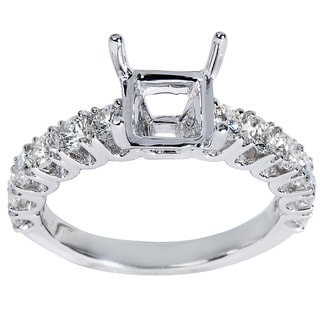 14K White Gold .98ct TDW Round Diamond Engagement Setting (Center Stone Note Included)