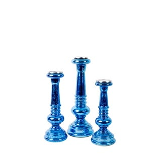 Privilege Blue Glass Candleholders (Pack of 3)