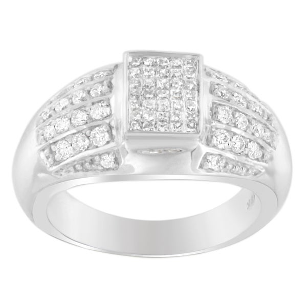 14K White Gold 3/4 ct. TDW Round and Princess-cut Diamond Ring (G-H, SI2-I1)
