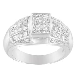 14k White Gold 3/4ct TDW Round and Princess-cut Diamond Ring
