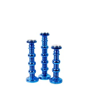 Privilege Blue Glass 3-piece Candle Holders