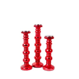 Privilege Red Glass Candle Holders (Pack of 3)