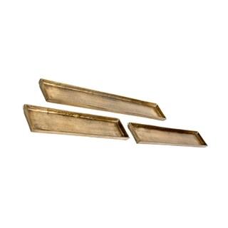Privilege Antique Gold Brass 3-piece Tray Set