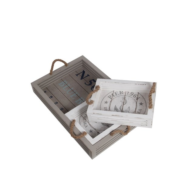 Privilege White Wood Trays (Pack of 3)