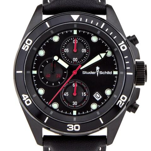 Studer Schild Morse Men's Chornograph Sport Watch, Leather Strap