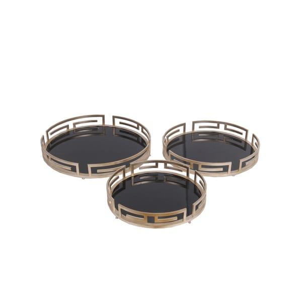 Privilege Iron 3-piece Round Tray Set