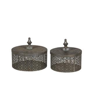Privilege Silvertone Iron Boxes (Set of 2)