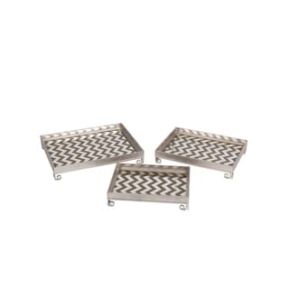 Privilege Silver-tone Iron 3-piece Tray Set