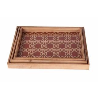 Privilege Three-piece Wooden Tray Set