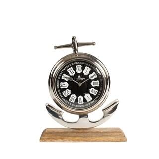 Privilege Brown Aluminum and Wood Clock