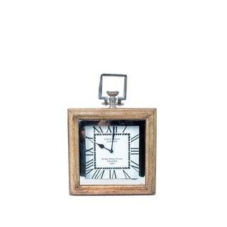 Privilege Wood and Aluminum Square Table Clock