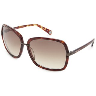 True Religion Unisex Natalie Tortoise and Grey Metal and Plastic Rectangular Sunglasses
