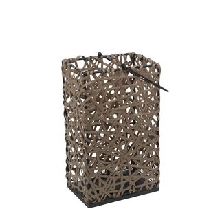 Privilege Brown Resin Large Wicker Lantern