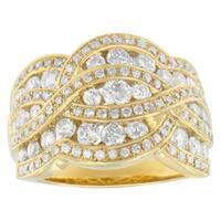 10K Yellow Gold 2 ct. TDW Multi-Row Diamond Ring(H-I,I1-I2)
