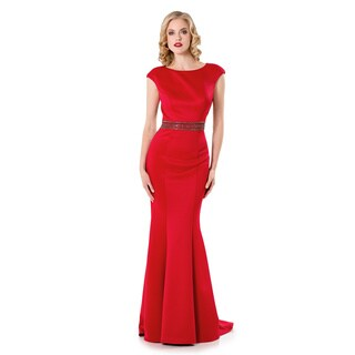 Terani Couture Women's Red Polyester Cap-sleeve Long Evening Gown