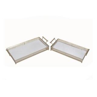 Privilege Gold-tone Iron Rectangular Trays (Set of 2)