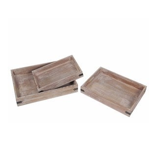 Privilege Brown Wooden Trays (Pack of 3)