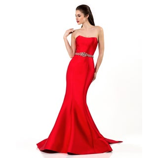 Terani Couture Women's Red Polyester/Satin Strapless Long Gown