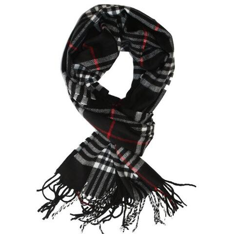 Deluxe Comfort New England Plaid Black Acrylic Scarf - L