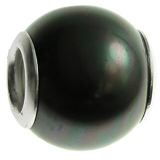 Queenberry Sterling Silver Round Tahitian-look Peacok Seashell Pearl European Bead Charm