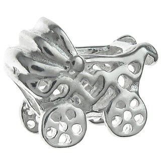Queenberry Sterling Silver Baby Carriage Cart European Bead Charm