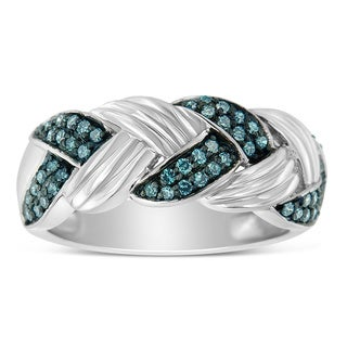 Sterling Silver 1/3ct TDW Blue Diamond Fashion Ring