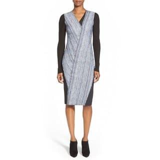 Elie Tahari Cara Women's Blue Mixed Media Dress|https://ak1.ostkcdn.com/images/products/13445588/P20136054.jpg?impolicy=medium