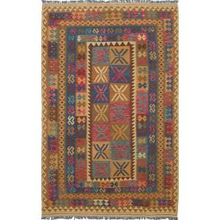 ecarpetgallery Hand-Woven Sivas Brown Wool Kilim (6'5 x 10'1)