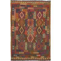 ecarpetgallery Hand-Woven Sivas Blue, Red Wool Kilim (6'9 x 10'0) - 6'9 x 10'0