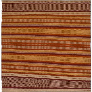 ecarpetgallery Hand-Woven Izmir Kilim Orange, Red Wool Kilim (6'5 x 6'5)